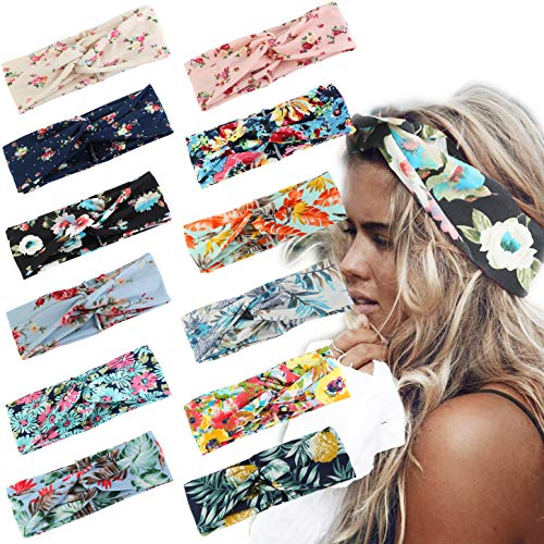 LOLIAS 12 Pack Headbands for Women Elastic Boho Flower Yoga Head Wrap Hair Band Soft (B:12 Pcs a Pack) ()