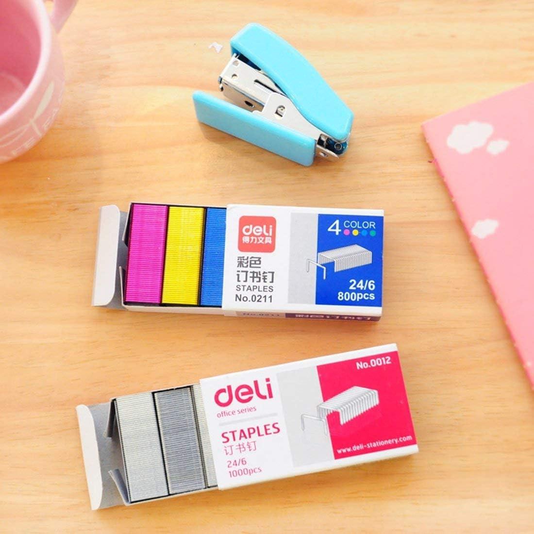 4 colori per luso in Max HD-10DF cucitrice 800pcs Mini colori Staples 3//8 Corona x 3//16 Gamba rosa, giallo, blu, verde 10