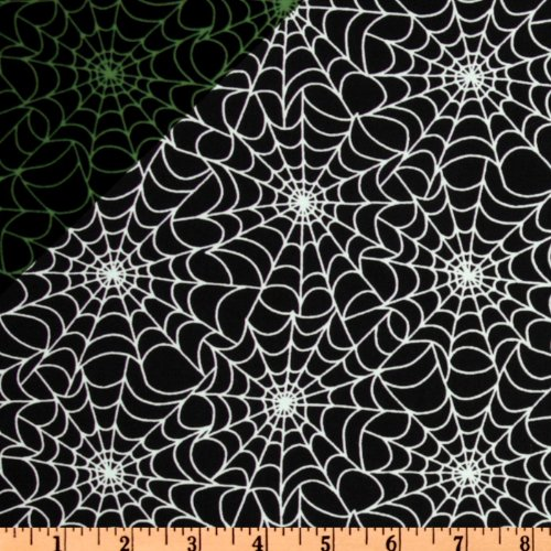 Timeless Treasures Spider Web Glow-in-the-Dark Black Fabric By The Yard