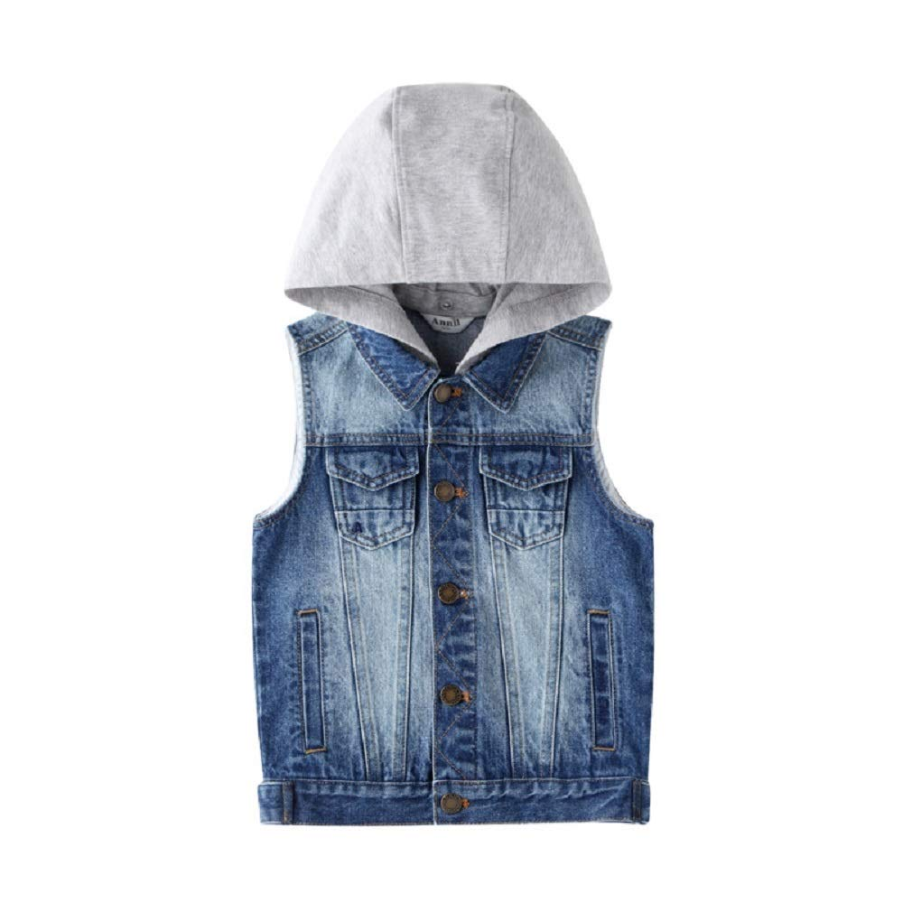 Annil Boys Denim Vest Kid's Gilet with Hat for 2 to 14 Y/O. (170) by Annil