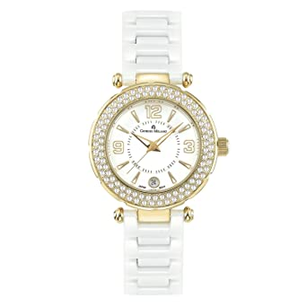 "Giorgio Milano 906CWSG01""Diana"" IP Gold with Swarovski Crystals White Ceramic Watch"