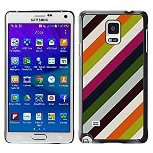 LECELL--Funda protectora / Cubierta / Piel For Samsung Galaxy Note 4 SM-N910 -- Lines Pastel Colors Clean --