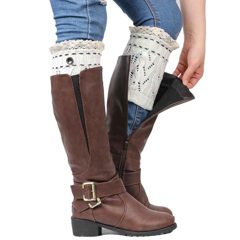 DDLBiz Women Leg Warmers Lace Hollow Out Button Crochet Knitted Stocks