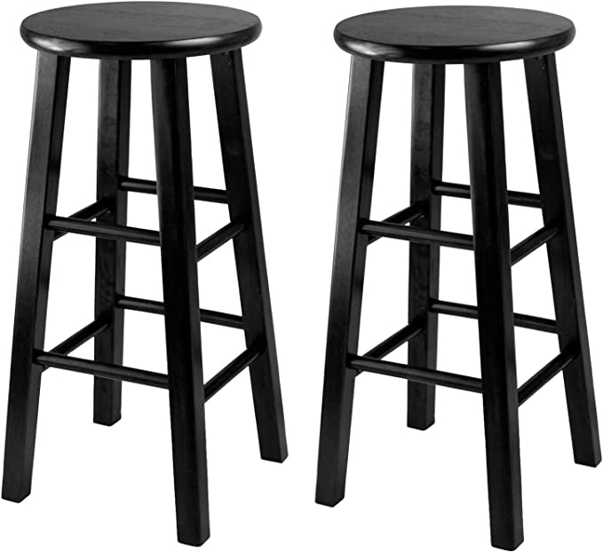 Winsome 24 Inch Square Leg Counter Stool Black Set Of 2 Sports Outdoors
