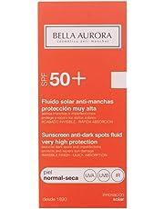 Bella Aurora Fluido Solar Facial Anti-Manchas 50 Hidratante para Piel Normal o Seca Protector Solar SPF 50+, 50 ml