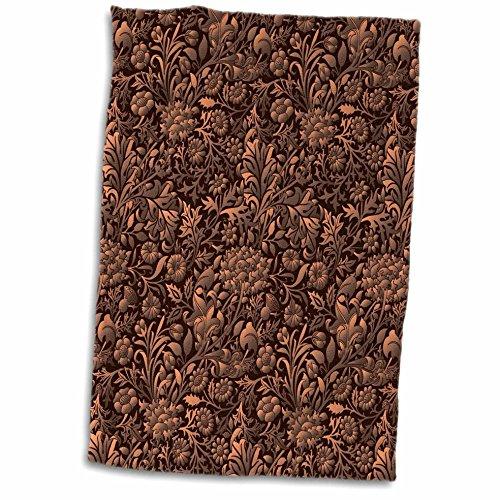 3D Rose Copper Colored Tonal Effect Vintage Floral Chintz Hand Towel, 15