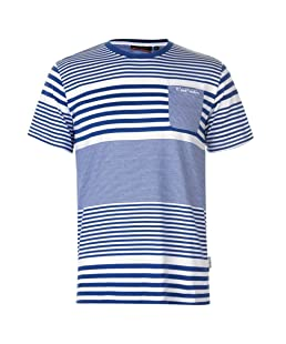 Pierre Cardin  Mens Stylish Mix Stripe T Shirt Cotton Top (Royal, Extra Large)
