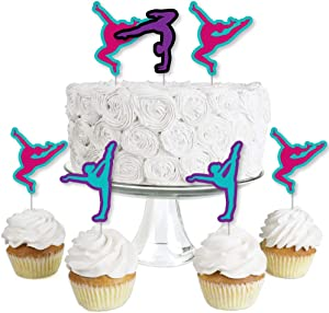 Tumble, Flip & Twirl - Gymnastics - Dessert Cupcake Toppers - Birthday Party or Gymnast Party Clear Treat Picks - Set of 24