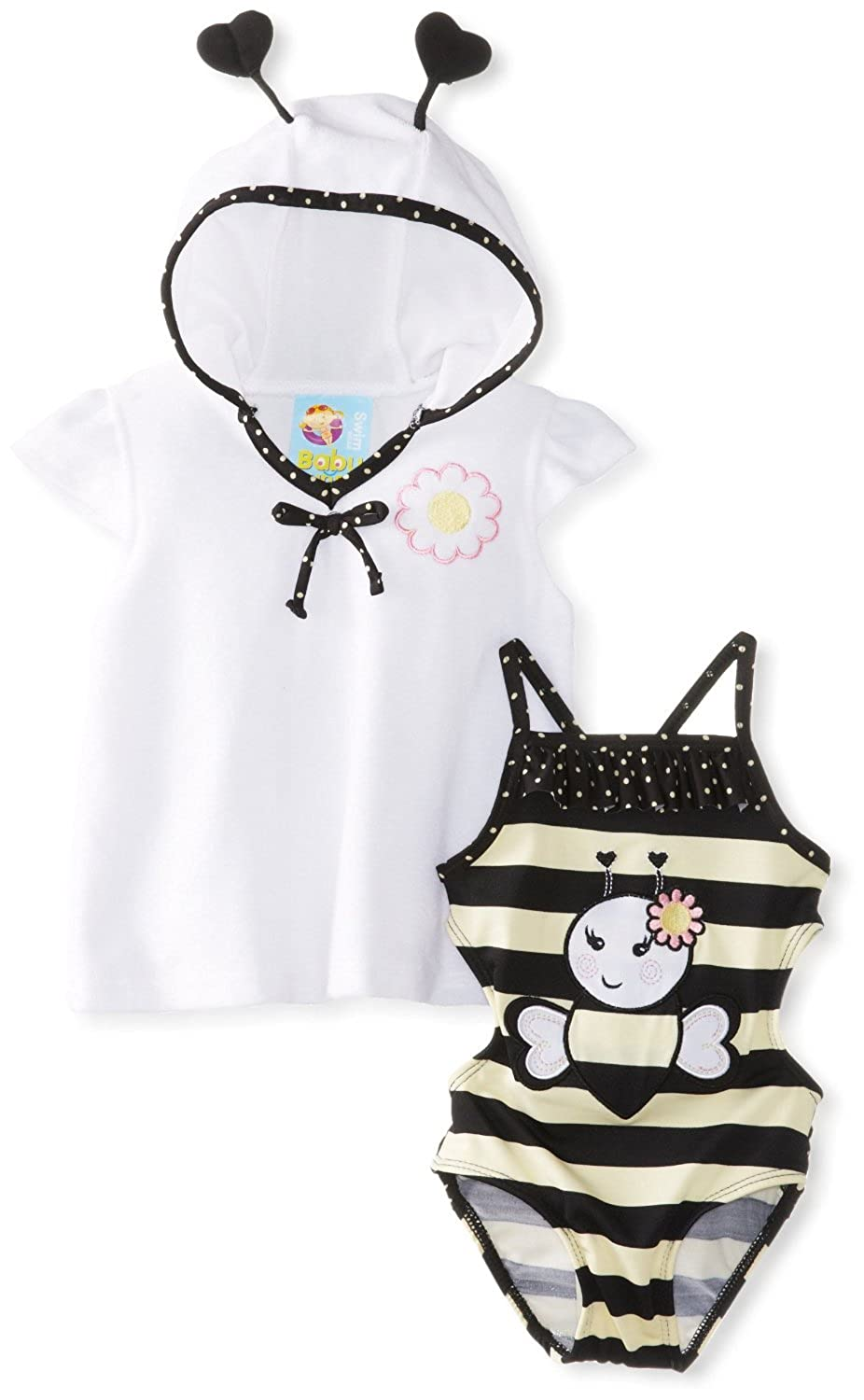Baby Buns Girls' 1 Piece Swimsuit with Cover Up Bee U Tiful Flower