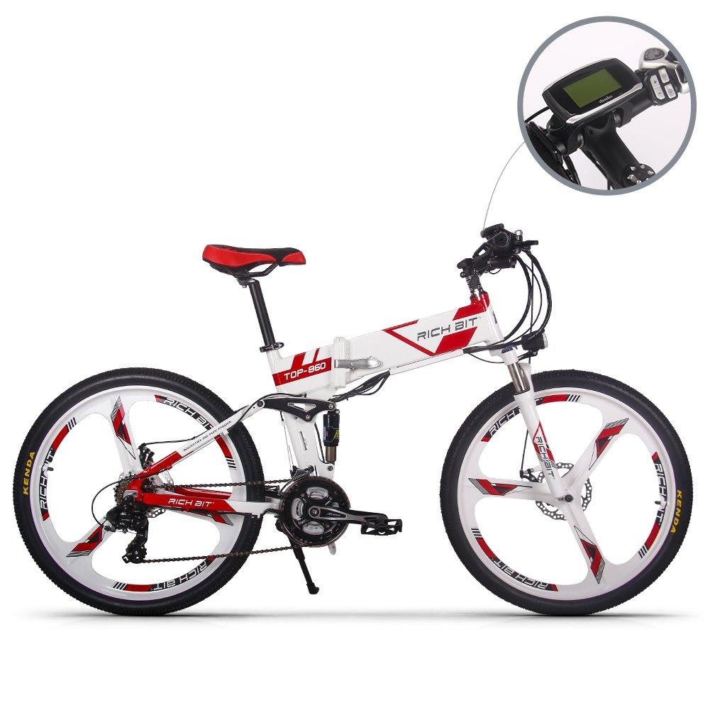 Bicicleta de montaña plegable y eléctrica para hombre TB RT860. Batería de ion de litio 12,8Ah de 7 niveles de velocidad. Velocímetro PAS de alta función 50 y 60 suspensión dual, blanca y roja, color WHITE-RED SP, tamaño L, tamaño de rueda 26.00 inches XH