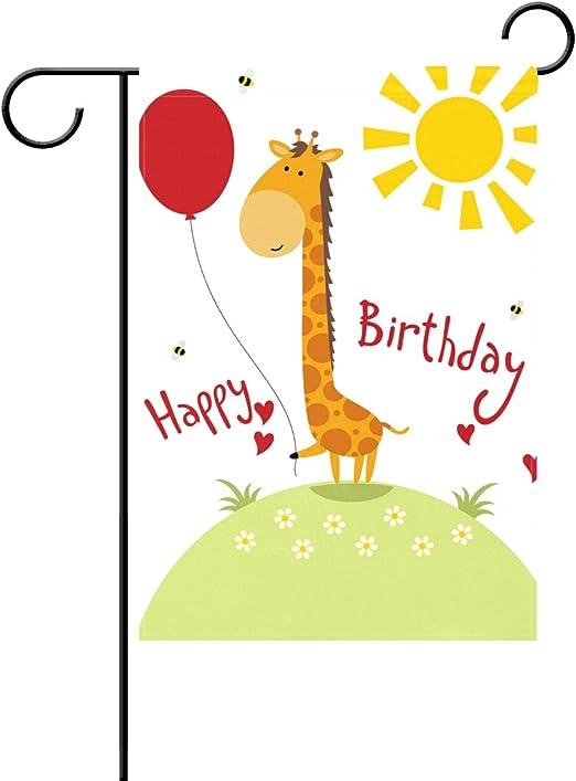 Feliz cumpleaños globos fiesta decorativa celebrar Cute animales jardín Bandera casa jardín bandera 12 x 18 inch: Amazon.es: Jardín