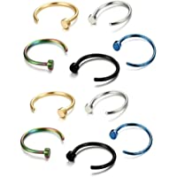 BOLERPE 5 Pairs Nose Piercing Fake Nose Ring Body Jewelry Faux Nose Rings Hoop Nose Studs