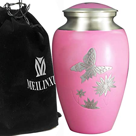 Cremation Urn for Human Ashes Adult – Brass Funeral Urn for Women – Metal Hand Engraved Silver Butterfly Large Urn – Display Burial At Home or in Niche at Columbarium Mother or Your Lover Pink Urn