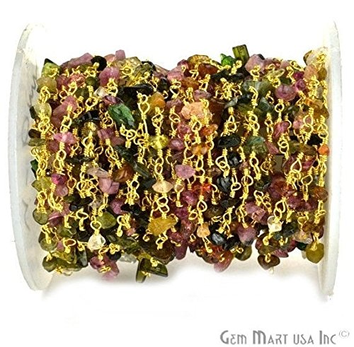 Wholesale One Foot Beautiful Multi Tourmaline Nugget Chip Beads Rosary Chain With 24k Gold Plated Wire Wrapped Rosary Chain By Foot. (GPMT-30025)