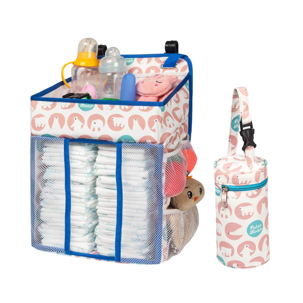 Selbor Baby Nursery Organizer and Diaper Caddy, Hanging Diaper Stacker Storage for Changing Table, Crib, Playard or Wall - Baby Shower Gifts for Newborn Boys Girls (Polar Bear, Bottle Cooler Included)