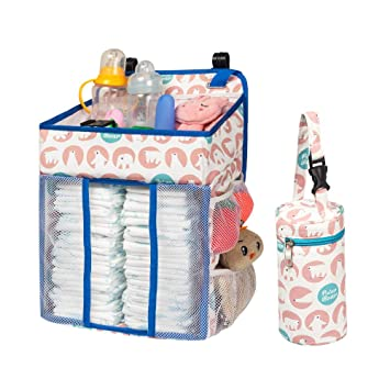 Baby Shower Gift for Newborn Boys and Girls Best Hanging Diaper Caddy Stacker for Changing Table Crib playard and Wall Large Capacity Diaper Nursery Organization Baby Nursery Organizer