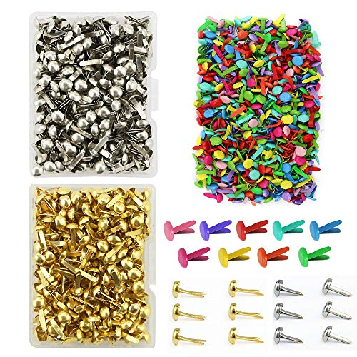 (600 Pieces 8 x 12mm Assorted Bright Color Mini Brads Round Paper Fasteners Brass Pastel Metal Brads for Scrapbooking Crafts DIY Paper (8 x 12mm))