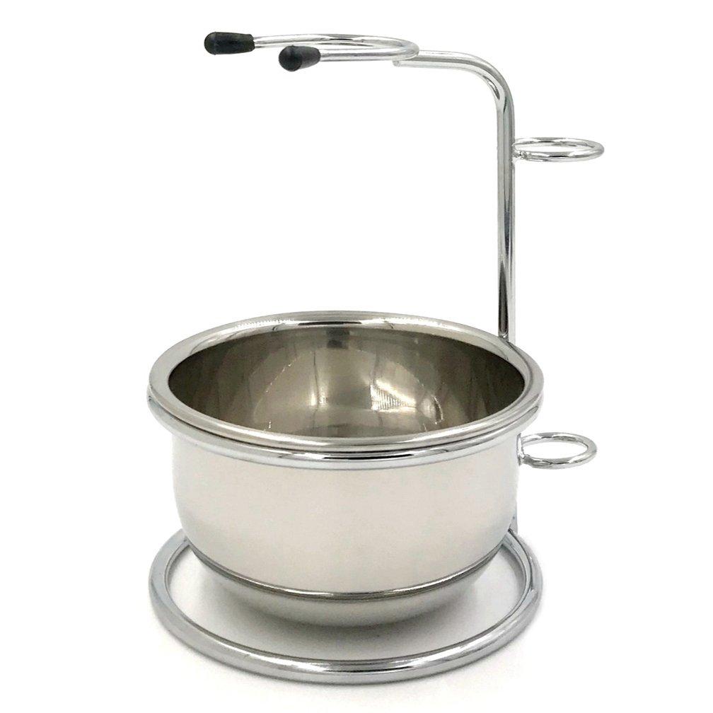 Chrome Razor and Brush Stand - The Best Safety Razor Stand - Stainless Steel Shaving Brush Bowl/mug Shanwo