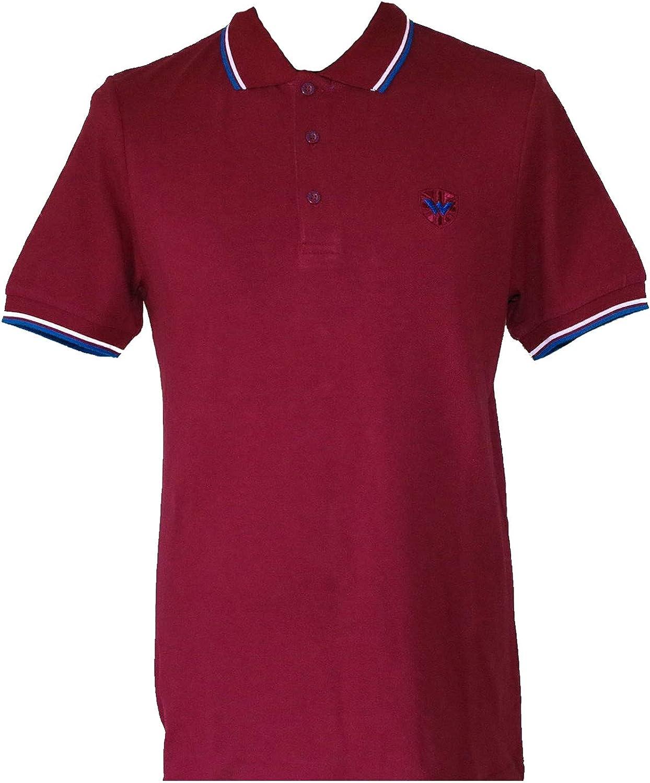 WARRIOR UK Men´s Pique Twin-Tipped Cotton Polo Shirt Burgundy Oxblood Skin Mod Punk