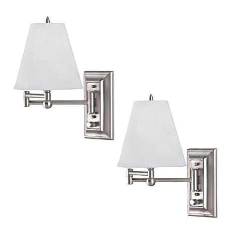48 Pack Brushed Nickel Wall Mount Swing Arm Reading Bedside Lamp Best Wall Mounted Bedroom Lights