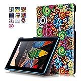 Funda Lenovo Tab 3-710F Cuero,Ultra Slim PU Cuero Smart Case Cover Funda de Cuero Piel con Soporte para Tablet Lenovo Tab3 7 Essential Tab 3-710F Funda Carcasa con Soporte funtion