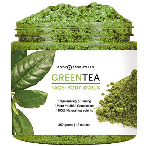 Body Essentials Green Tea Scrub - Antioxidant Rich - Anti Aging - Younger and Healthier Skin - Dead Sea Salt - Essential Oils - Vitamin E - 100% Natural Ingredients - Paraben/Sulfate Free