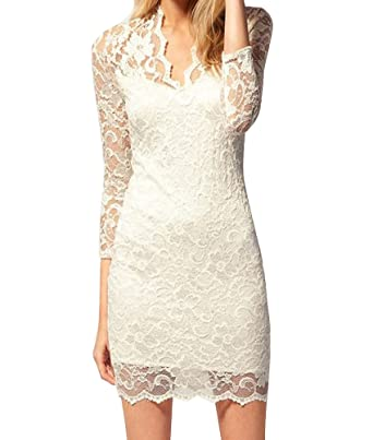 de6f2578ee9 USENG Women Floral Lace Mesh Patchwork Sexy Sheer V Neck Bodycon Dress XL  White  Amazon.co.uk  Clothing