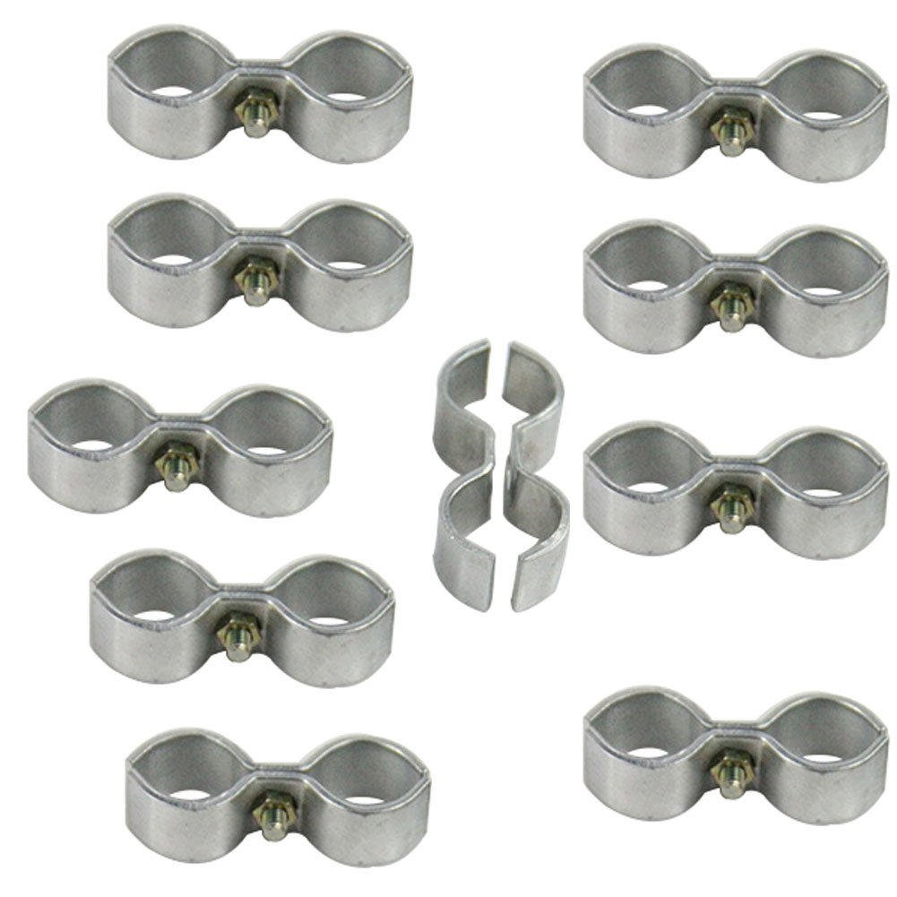 Mike Home Kennel Clamps Shelf Pole Connector Double Port Pipe Clamps Clips 20mm/0.78'' Set of 10 (20mm) by Mike Home