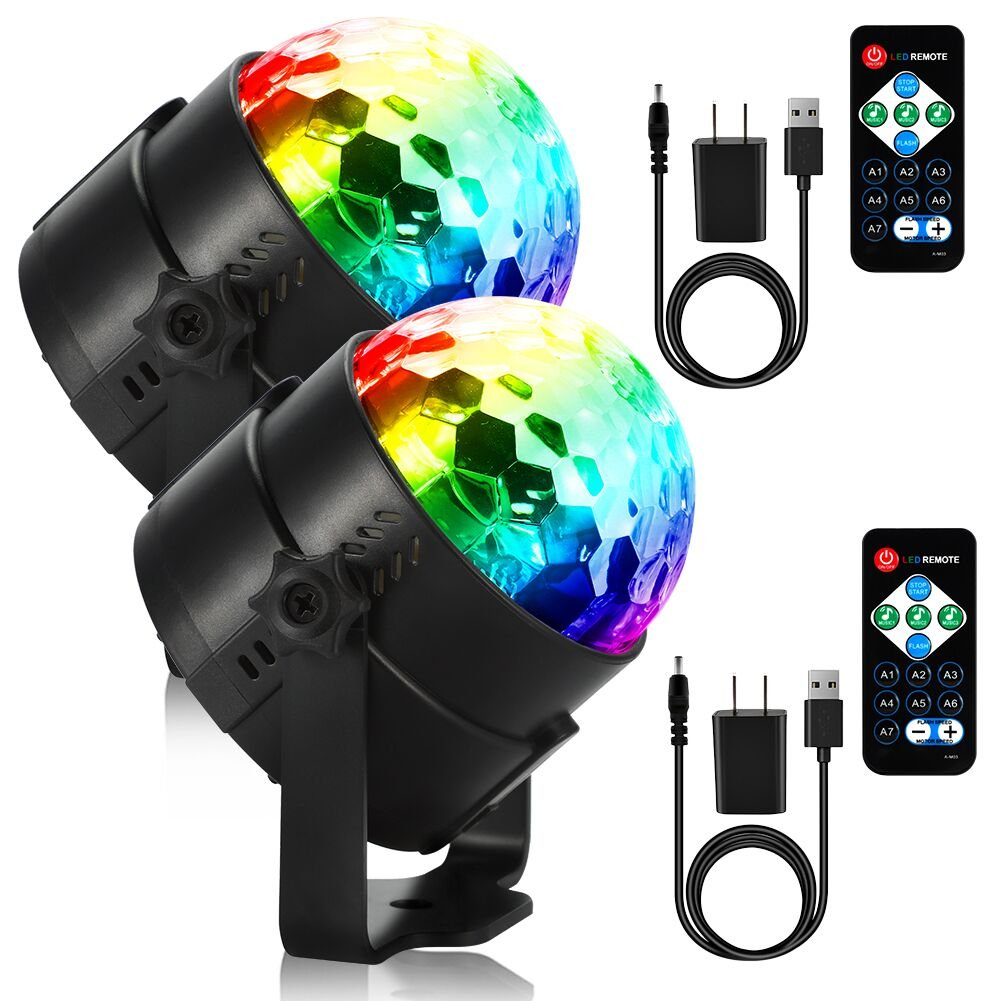 LUNSY dj Lights, Stage Lights, Disco Ball Par Lights, LED 7 Lighting Colors Disco Party Lights, Sound Activated Strobe Lights with Remote Control (USB CHARGER) For Wedding Show Band 2 Pack