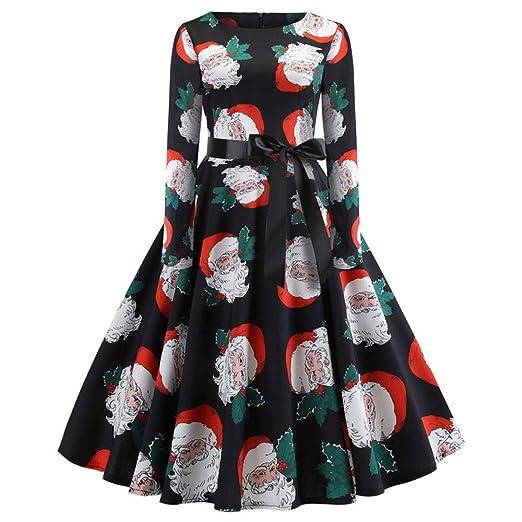 b3f117d6dd62a Nadition Christmas Dress 🌹 2018 Fashion Women's Vintage Cute Print ...