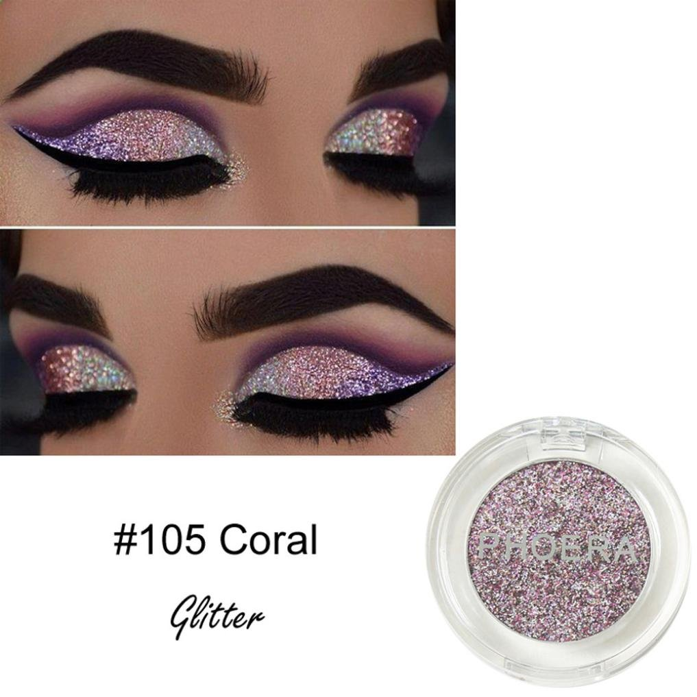 Ourhomer PHOERA Glitter Powder Shimmering Colors Eyeshadow Metallic Eye Cosmetic Makeup (E Purple)