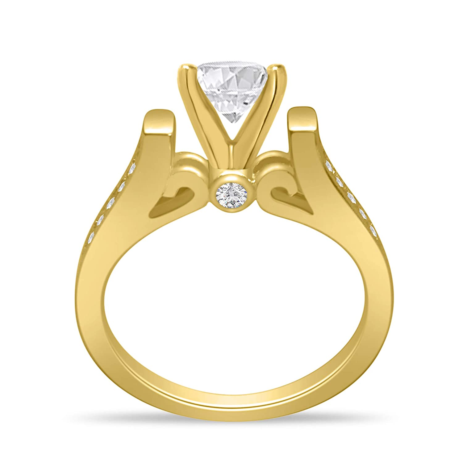 1.30 Cttw 7mm Round Simulated Diamond CZ Gemstone Birthstone Victorian Unique Cathedral Solitaire Promise Engagement Wedding Anniversary Ring 14k Yellow Gold Plated