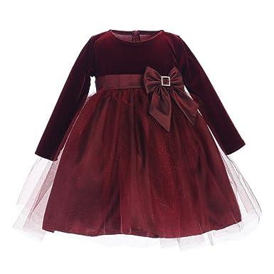 3f1aba0c7 Lito Baby Girls Burgundy Stretch Velvet Glitter Tulle Christmas Dress 6-12M