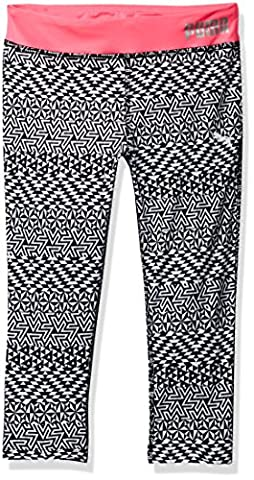 PUMA Big Girls' Athletic Capri Leggings, Puma Black Print, M (8/10) (Cheetah Print Pumas)