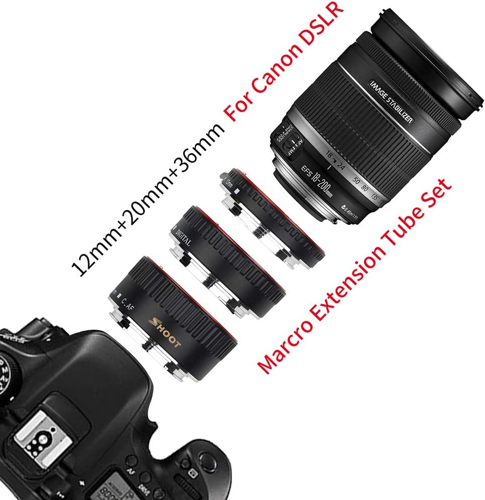 on 600d 500d 80d EOS EF EF-S 60D for Can on Camera Accessory SSEDEW Metal TTL Auto Focus Macro Extension Tube Ring for Can