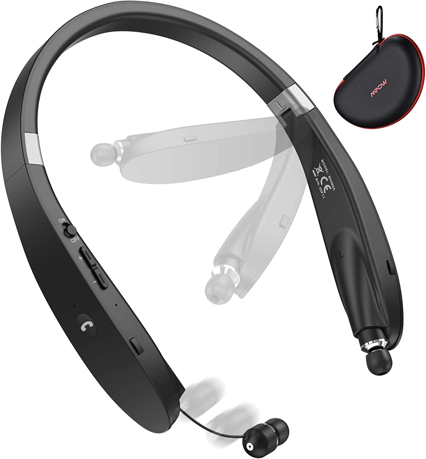 Bluetooth Headphones, Mpow Wings Foldable Wireless Neckband Headset W/Retractable Earbuds, V5.0 Bluetooth Headset Neckband, 20H Playtime, cVc6.0 Noise Cancelling Mic, Carry Case for Home Office,Black