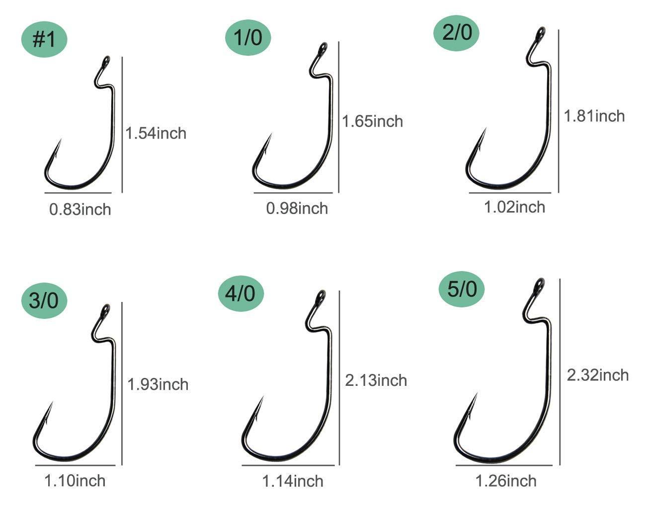 50pcs//100pcs Worm Fishing Hooks 38105 3X Worm Hooks Lure Baits Crank High Carbon Steel Wide Gap Offset Bass Worm Hooks Size 1,1//0,2//0,3//0,4//0,5//0 Saltwater Fishing Accessories