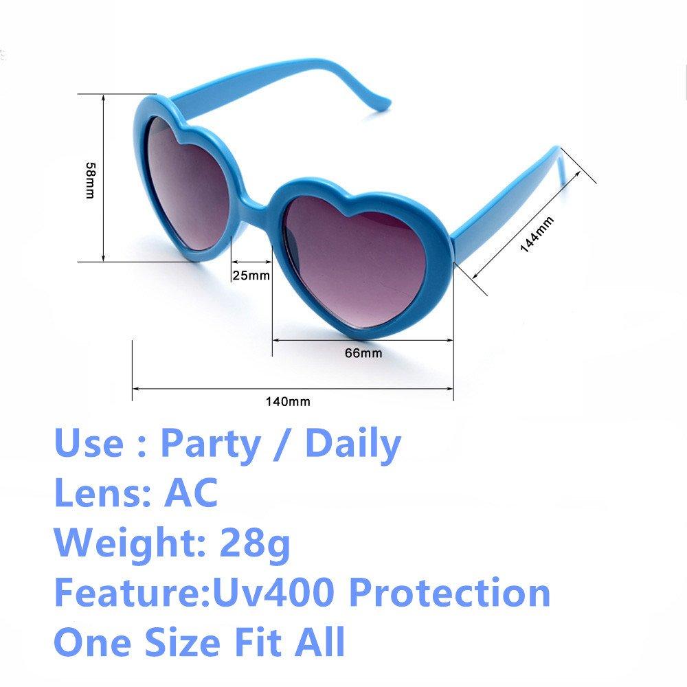 Fsmiling Neon Farben Party Gefälligkeiten Herzform Sonnenbrille Set für Kinder Erwachsene (6 pack Red) AfijRoo8HV