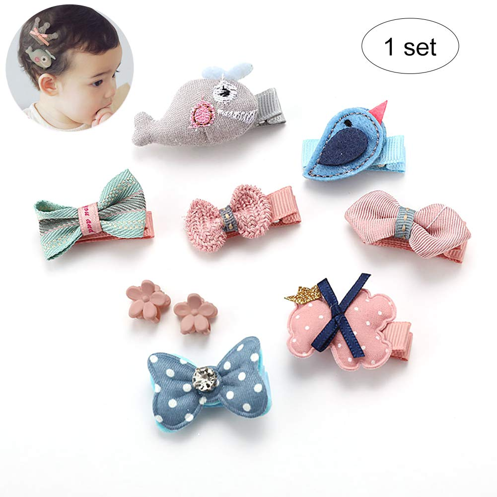 8pcs/Set Baby Girls Hair Bow Set Toddler Hair Clips Ribbon Lined Alligator Hair Clips Bow Adorable Hair Clips for Toddler Girls Teens Assorted Kit - Pink and Bule Hilai