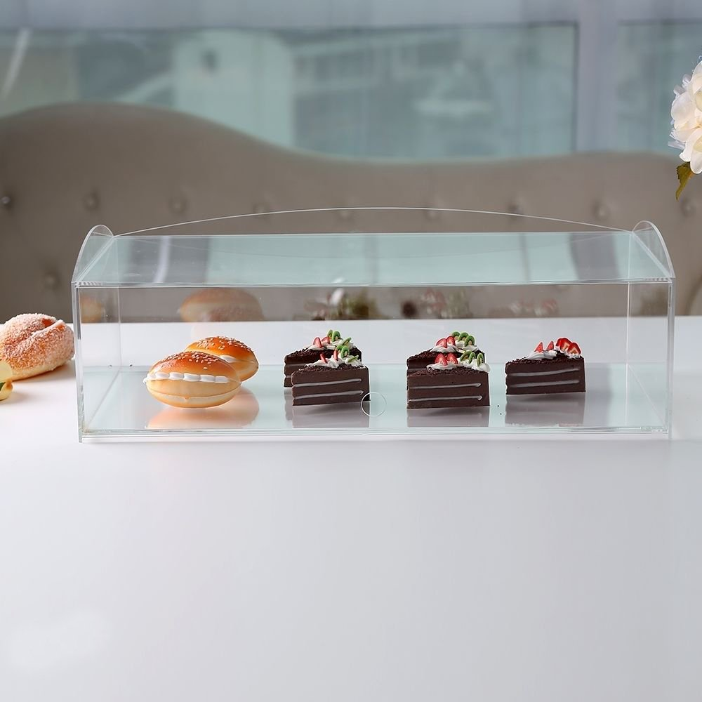 Acrílico panadería pastelería vitrina soporte armario pasteles Donuts Cupcakes pasteles, vidrio, H160mm x W490mmxD240mm Complete Retail Solution LTD