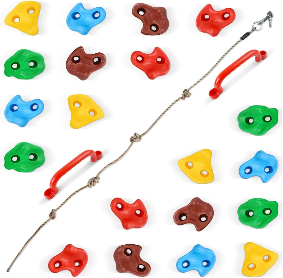 20 Rock Climbing Holds for Kids, Adult Rock Wall Holds Climbing Rock Wall Grips with 2 Handles, 5.9 Ft Knotted Rope for Indoor and Outdoor Playground Play Set - Includes 2 Inch Mounting Hardware