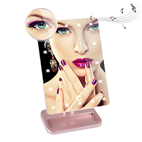 Gerald DuVallSDF Makeup Mirror with Lights and Bluetooth- Vanity Mirror with 10X Magnifying,Cosmetic Mirror with 20 LED Lights,180 Rotation,USB Charging