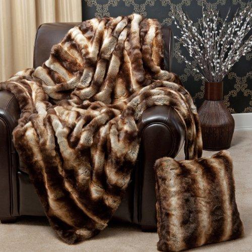 Best Home Fashion Faux Fur Throw - Lounge Blanket - Chinchilla - 58'W x 60'L - (1 Throw)