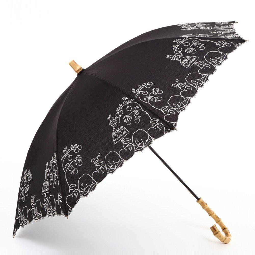 [ATSUKO MATANO りんご姫 日傘(長傘) ブラック B071GT5QVL