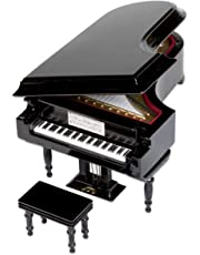 Nrpfell Black Baby Grand Piano Music Box with Bench and Black Case (Music of The Night)