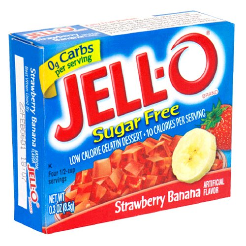JELL-O Strawberry Banana Sugar Free Gelatin Dessert Mix (0.30 oz Boxes, Pack of 24)