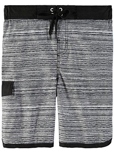 Grey Swim Trunks - Smith's American Boys' Color Blocked Stripes Swim Short (7, Sea Grey)