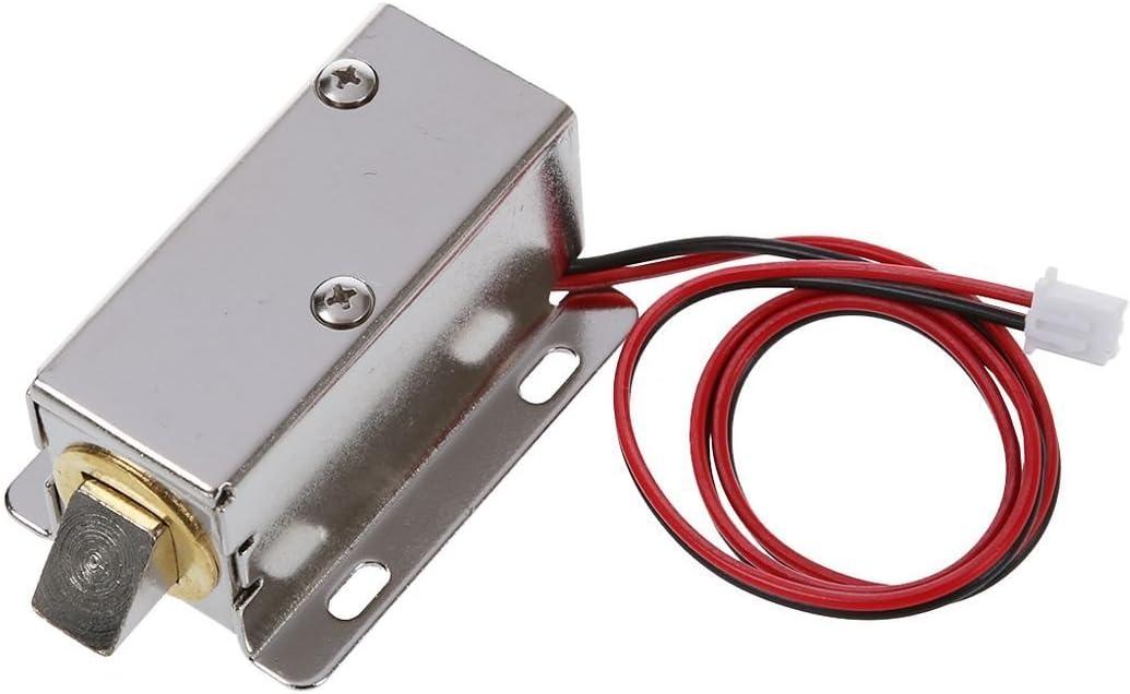 R TOOGOO 0837L DC 12V 8W Solenoide de tipo de marco abierto para cerradura de puerta electrica