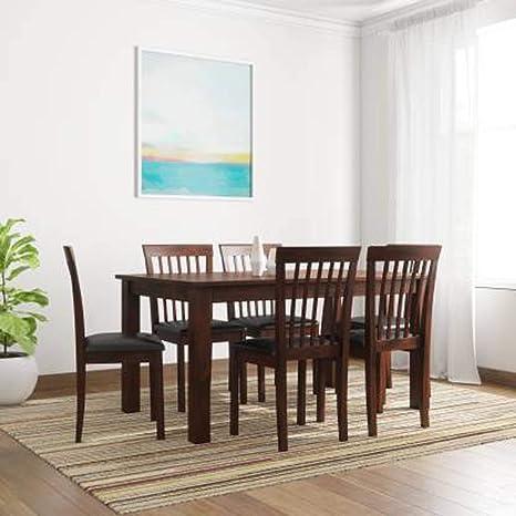 Woodness Eluga Premium 6 Seater Solid Wood Dining Table Set  Matte Finish, Wenge  Dining Room Sets