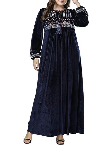 TAAMBAB Musulmanes Islámico árabe Maxi Vestidos Abaya Disfraz Oración Batas - Dubai Hui Ropa para Mujeres Elegancia: Amazon.es: Ropa y accesorios